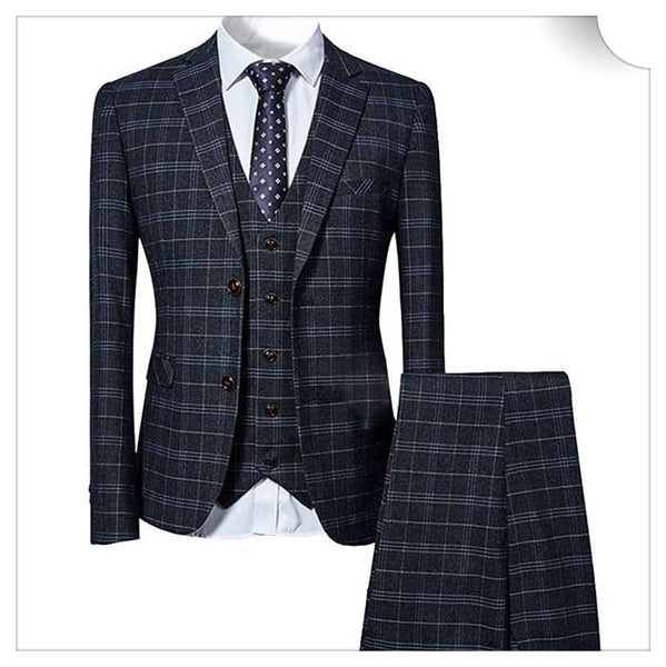 3-Piece Slim Fit Vintage Suit Black