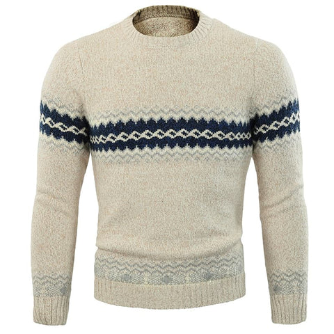 Cloudstyle-Jacquard Crew Cotton Sweater