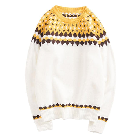 Cloudstyle-Rhombus Knitted Sweater