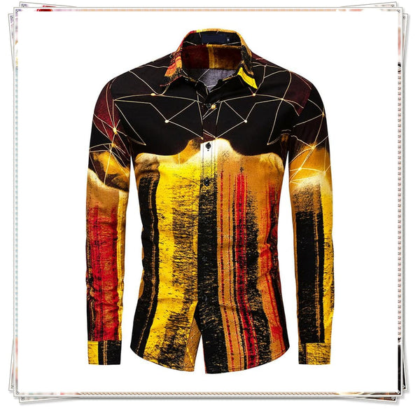 Slim Fit Shiny Cotton Printed Shirt