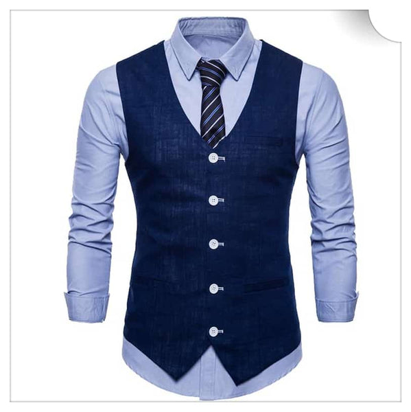 Slim Fit Skinny Dress Vest  Navy