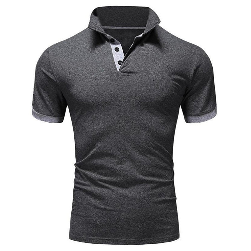 Grey Essential Polos Short Sleeve Classic Polo Shirt