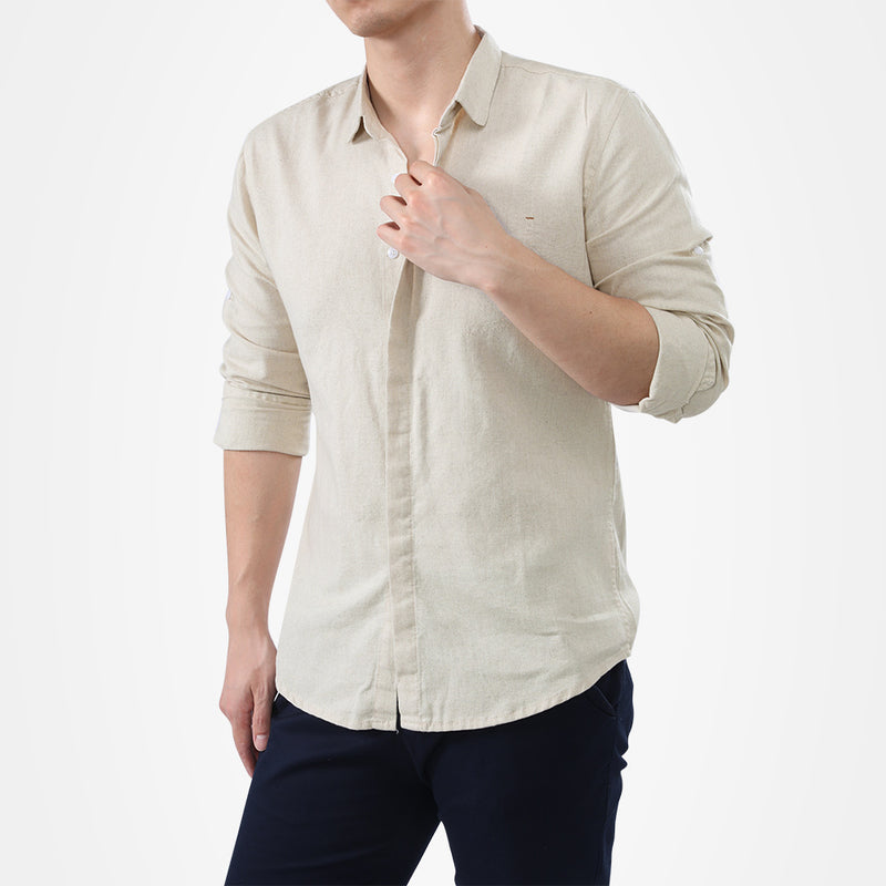 Beige Slim Fit Solid Linen Casual Shirt