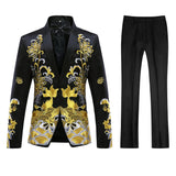 Slim Fit Totem Embroidered Two Piece Black Suit