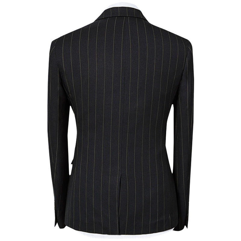 Three Piece Onyx Black Suit Stripe Design Suit