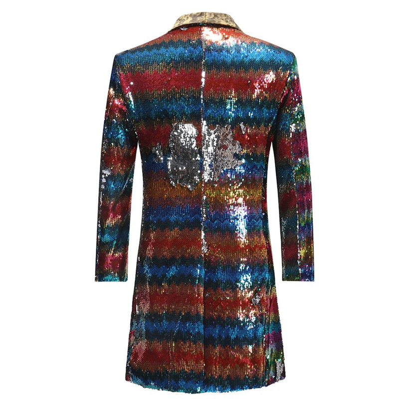 Rainbow Gradual Sequins Md-Long Blazer