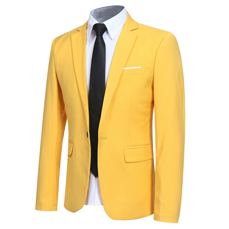 Yellow Stylish Blazer One Button Casual Blazer