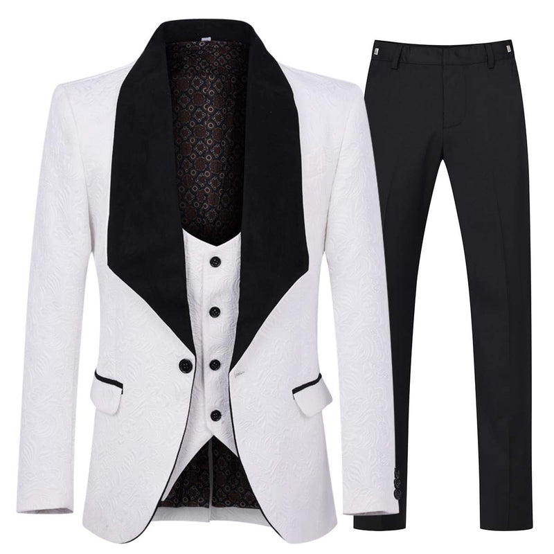3-Piece Paisley White Suit Shawl Collar Suit
