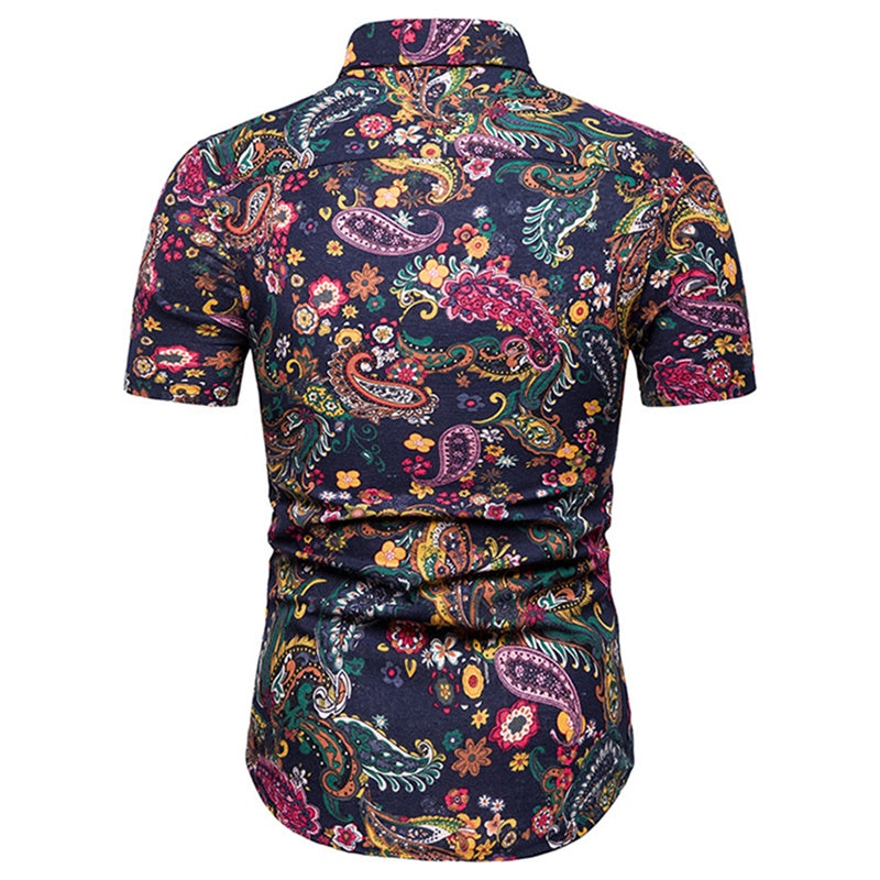 Slim Fit Floral Style Shirt Navy