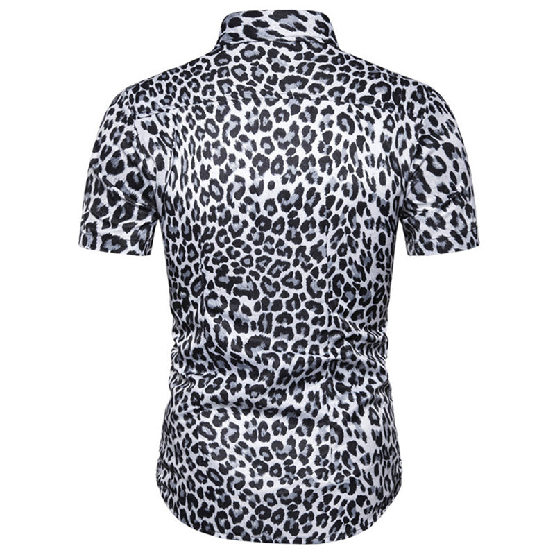 Slim Fit Leopard Printed Shirt Grey