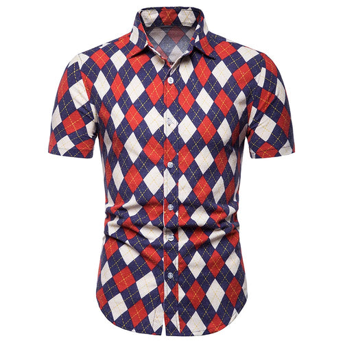 Slim Fit Rhombus Shirt Red
