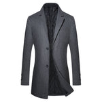 Men's Grey Long Winter Business Coat / Jacket, Slim Fit, Warm