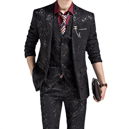 3-Piece Slim Fit Plaid Suit 2 Colors