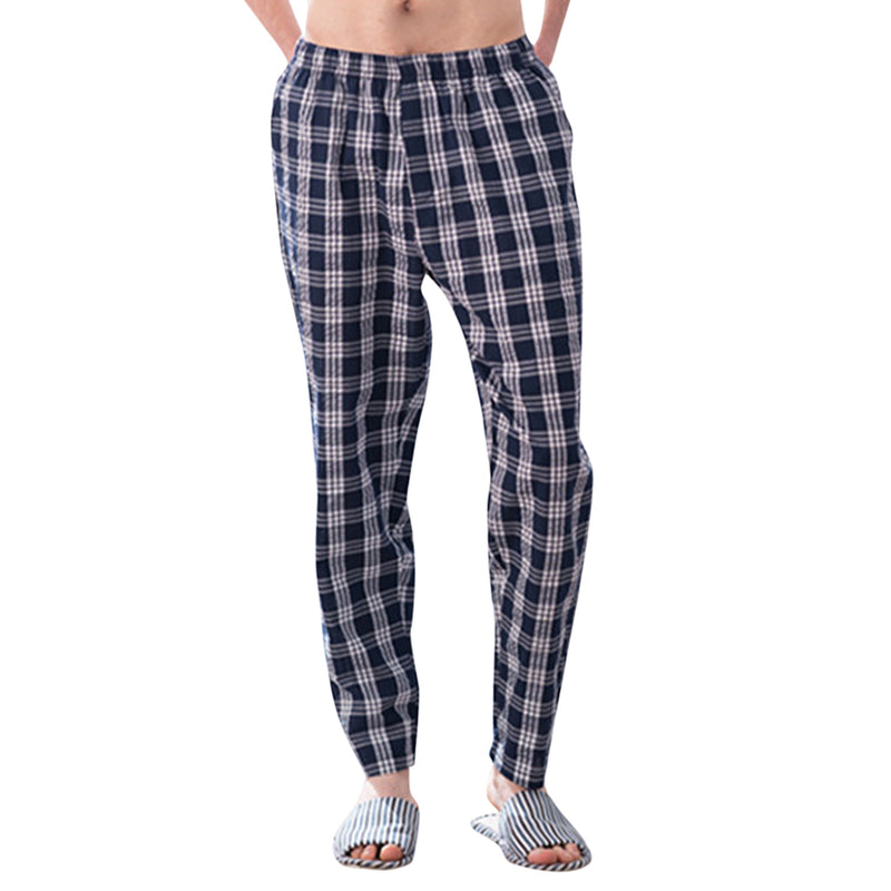 Plaid Mens Casual Pajama Pants With Comfort Flex Waistband 3 Colors