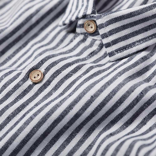 Blue Linen Shirt Turn-Down Collar Stripe Shirt
