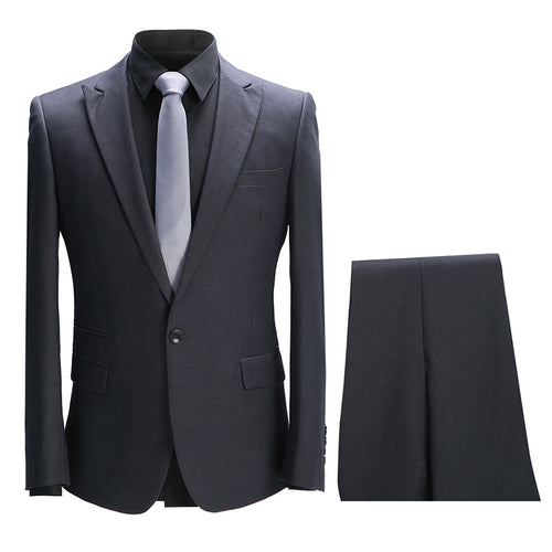 2-Piece Slim Fit Solid Color Suit 2 Colors - Cloudstyle