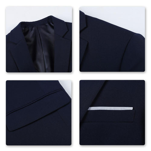 3-Piece Slim Fit One Button Fashion Navy Suit
