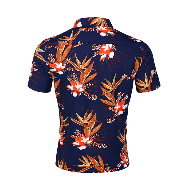 Slim Fit Floral Printed Casual Shirt Navy