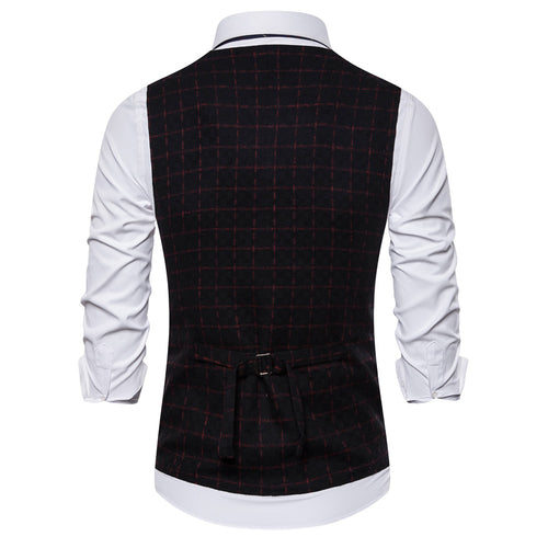 Slim Fit Plaid Double Breasted Vest Black
