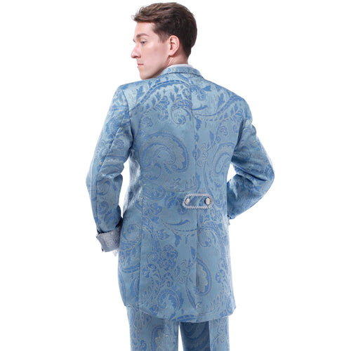 3-Piece Paisley Royal Style Suit Blue