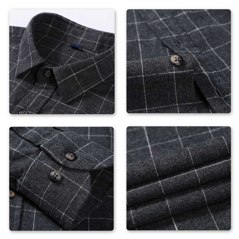 Slim Fit Plaid Cotton Shirt Black