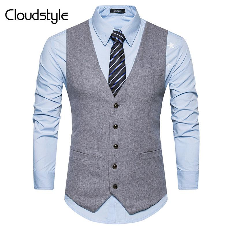 Slim Fit Formal Vest Grey