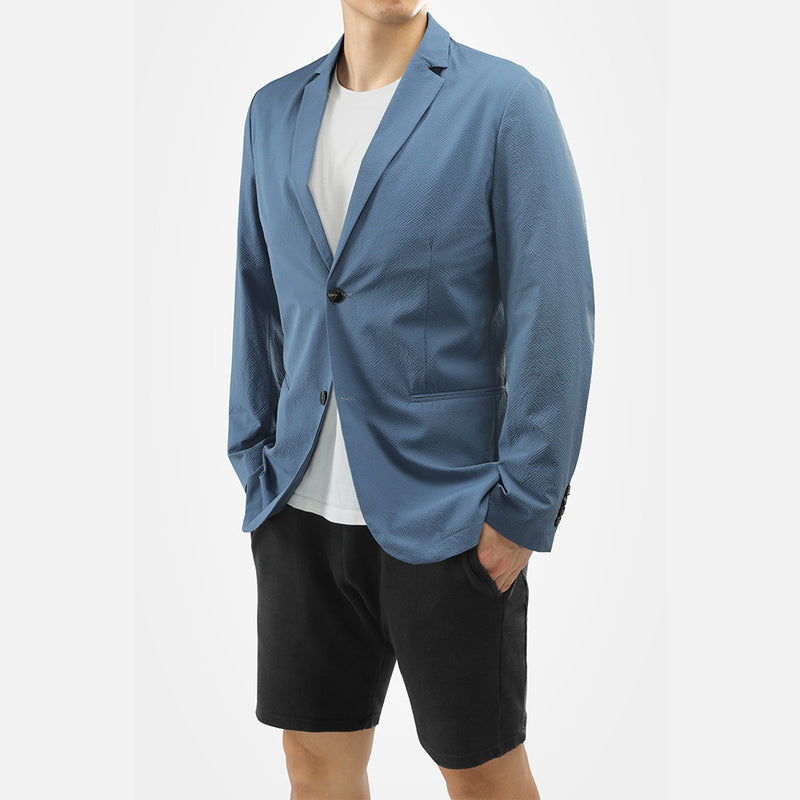 Silm Fit Lightblue Single-Breasted Casual Blazer
