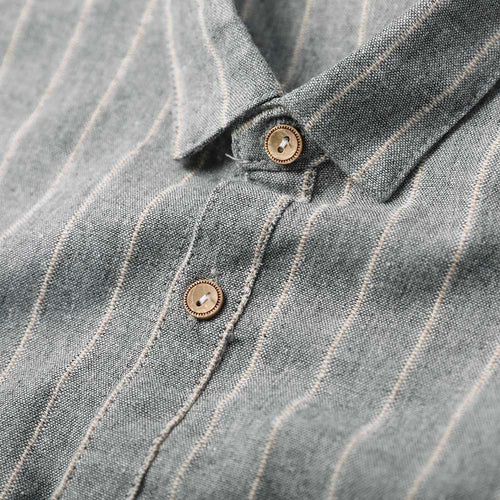 Grey Regular Fit Stripe Linen Casual Shirt