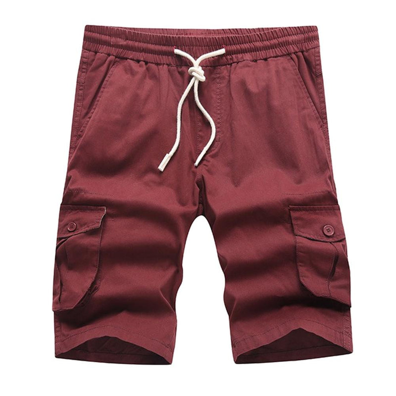 Relaxed Fit Multi-Pockets Cargo Shorts Maroon