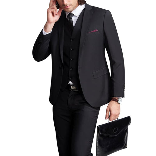 Two Piece Slim Fit Business Black Suit
