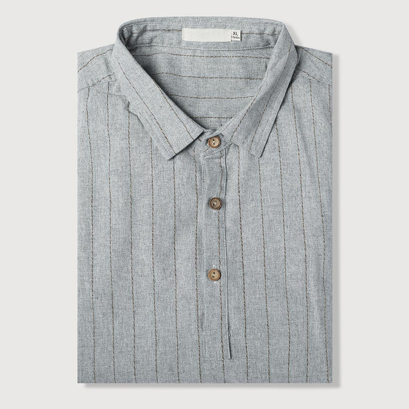 Grey Cotton Shirt Button-down Fitted Stripe