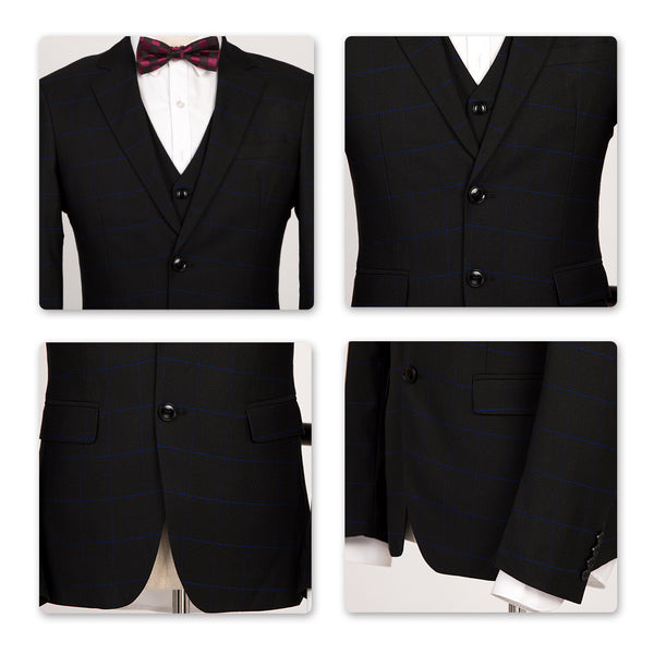 3-Piece Slim Fit Windowpane Black Suit