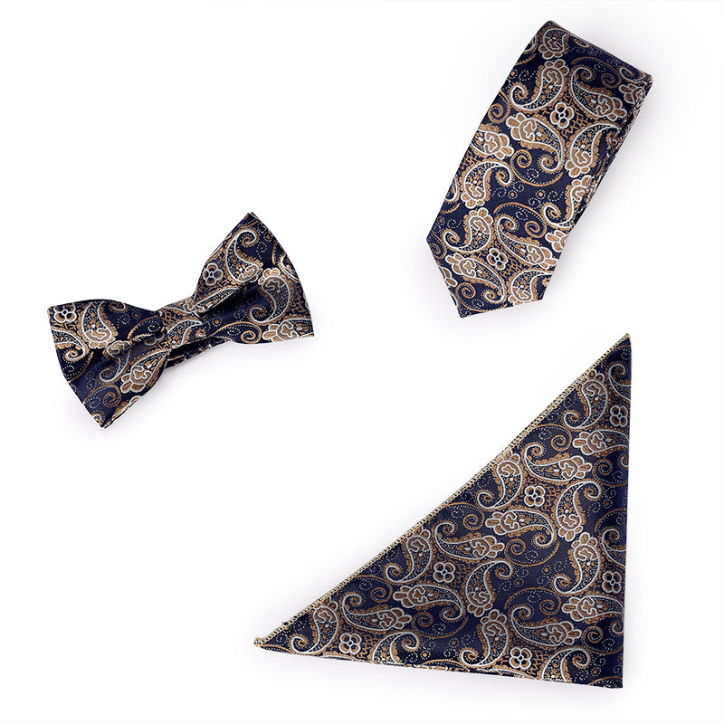 3-Piece Embroidered Floral Tie Set Navy