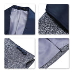 Printed 2-Piece Suit Shawl Collar Grey Suit