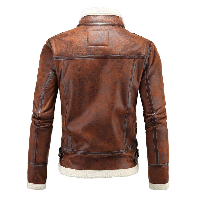 Slim Fit Faux Leather Trucker Jacket Brown