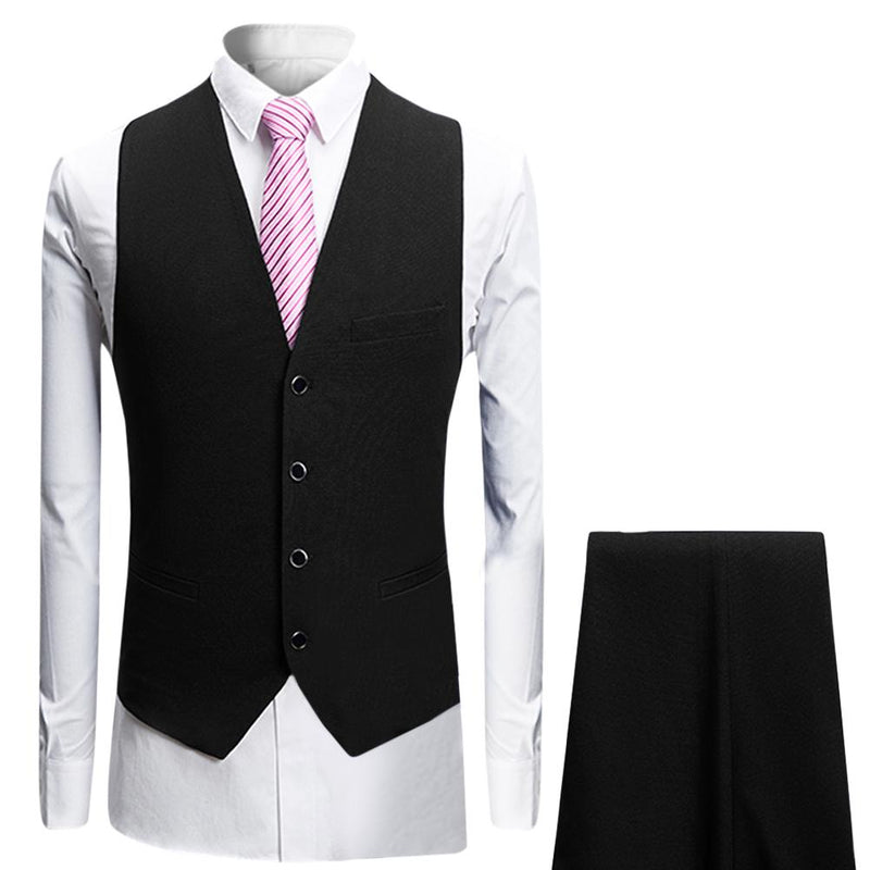 3-Piece Slim Fit Suit Black Casual Suit