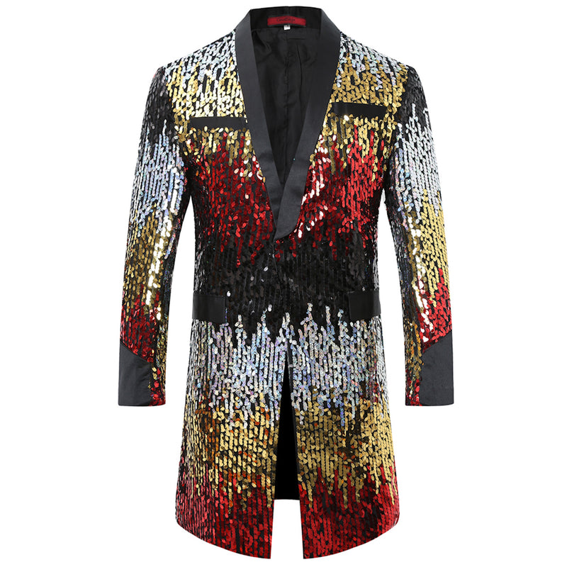 Slim Fit Maroon Gradual Sequins Robe