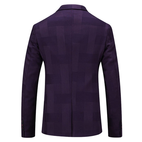 3-Piece Slim Fit Checked Indigo Casual Suit