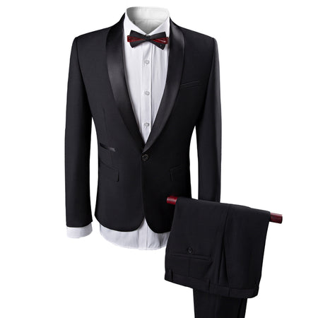 2-Piece Slim Fit Double Breasted Stripe Suit Black