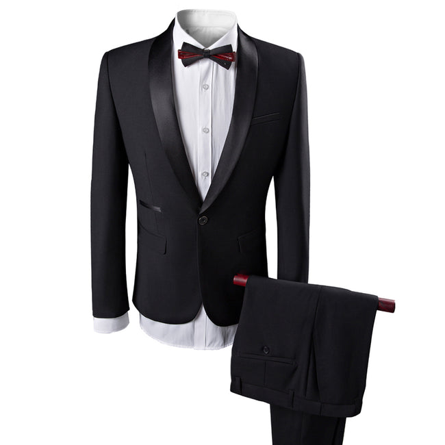 2-Piece Slim Fit Wedding Suit Black - Cloudstyle