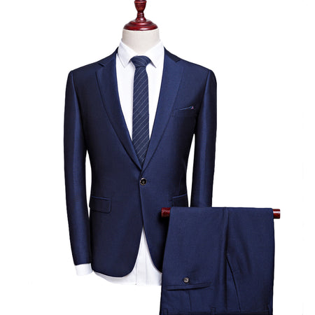 2- Piece Slim Fit Windowpane Suit Navy