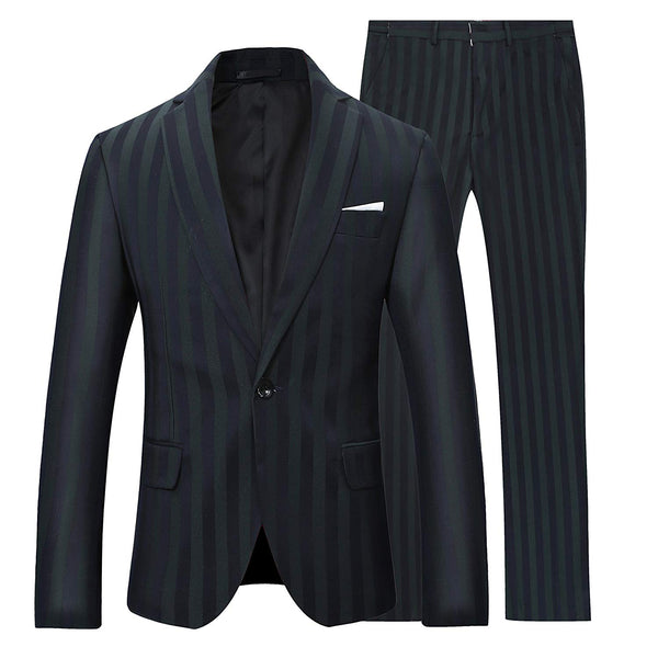 2-Piece Slim Fit Pinstripe Suit DarkSlateGrey