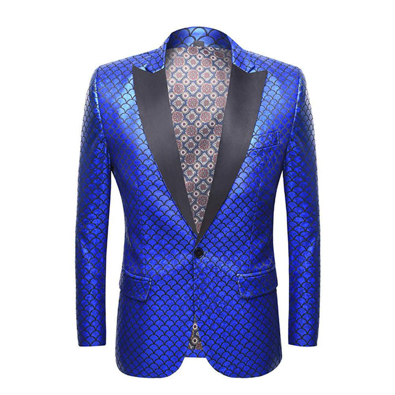 Slim Fit Fish Scale Print Blazer Blue