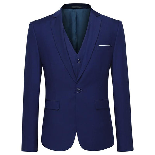 3-Piece Classic One Button Riviera Blue Suit