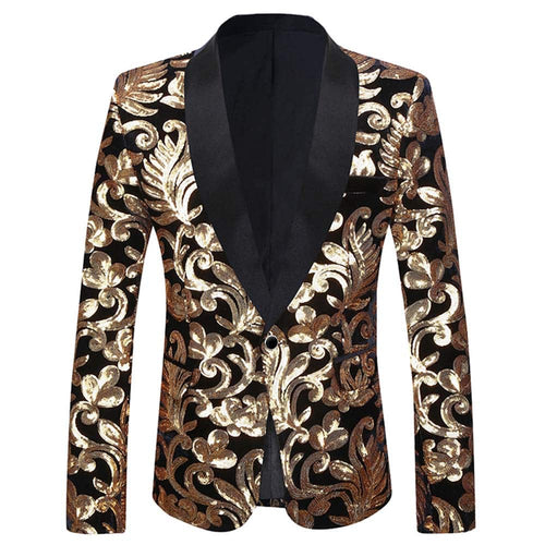 Slim Fit Sequin Blazer Black