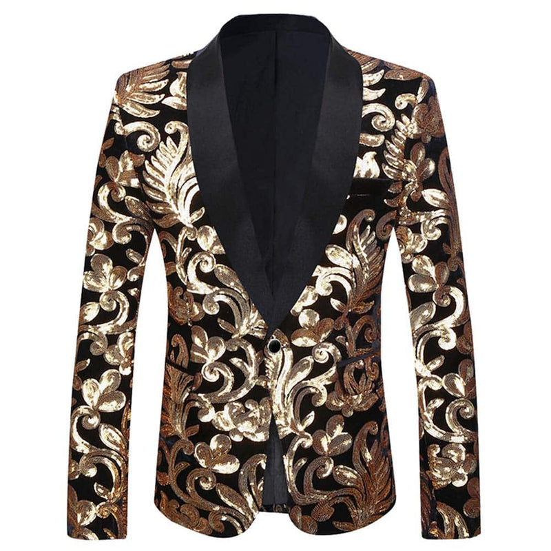 Gold Sequins Black Blazer Shawl Collar Blazer