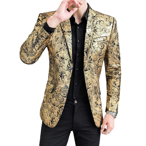 Slim Fit Floral Blazer Gold