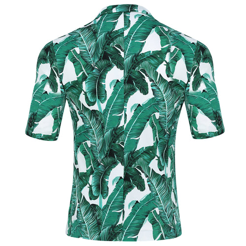 Green Japanese Leaf Printed Summer Suit