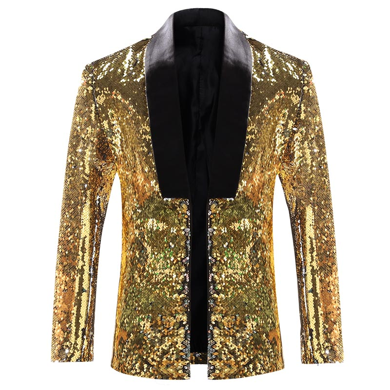 Gold Buttonless Reversible Sequins Satin Collar Blazer