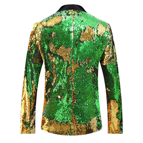 Yellow & Green Buttonless Reversible Sequins Satin Collar Blazer